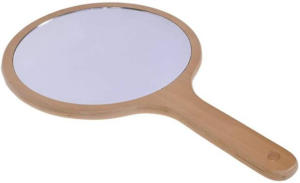 Scarlet Line Professional Series One Sided Round Hand Mirror with Wooden Handle For Men & Women, 39.5 x 22.5 x 1.5 cm