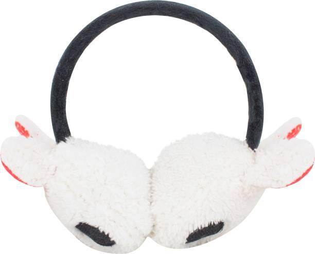 Neska Moda White Winter Outdoor Wear Adjustable Size Ear Muffs Ear Muff