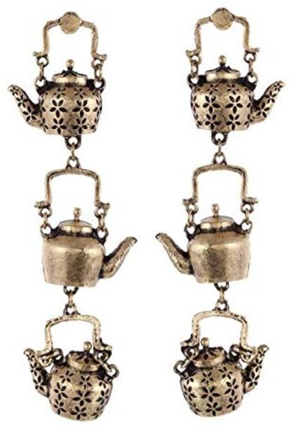 Sanwariya Jewels Tea Lover Kettle Brass Stud Earring