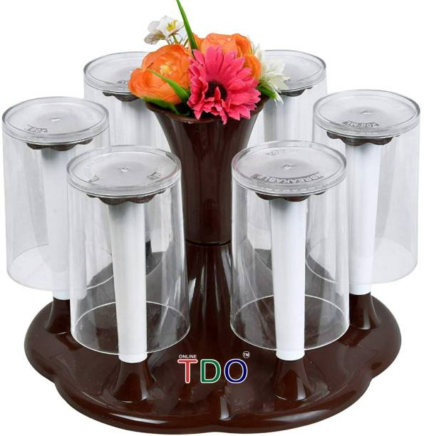 TDO Stylish Glass and Spoon Organiser for Glasses and Cutlery Glass Stand Made Stainless Steel and Virgin Plastic COFFEE Plastic Glass Holder, Utility Rack