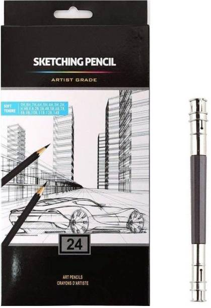 Definite Graphite Artist Grade Degree Pencils Pack of 24 Ideal for Sketching, Drawing, Shading for Students, Beginners, Hobbyists, Professional Artists (14B, 12B, 10B, 9B, 8B, 7B, 6B, 5B, 4B, 3B, 2B, B, HB, F, H - 9H) and One Pencil Extender (size - 13cm) Pencil