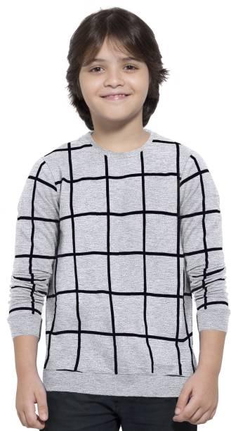 MANIAC Boys Checkered Pure Cotton T Shirt
