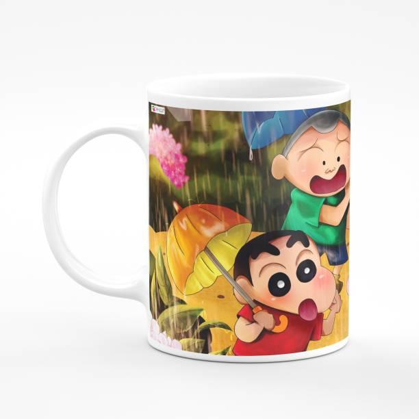 CHHAAP Shinchan With Friends In Rain Printed Microwave Safe For Kid's Ceramic Coffee Mug