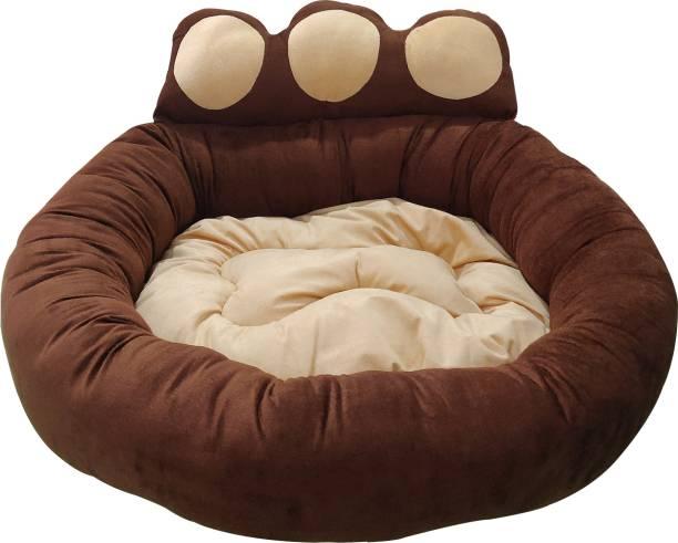 Dogerman Elegant Luxurious Durable Dual Colour Brown Velvet Dog Cat Pet Bed (91 x 91 x 25 cms) X-Large XL Pet Bed