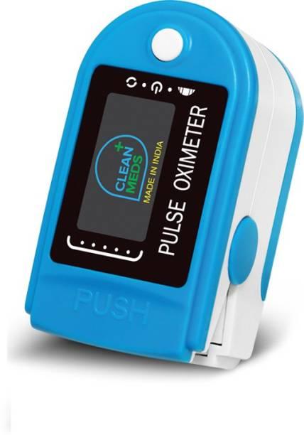 CLEAN MEDS Finger Tip Blue Oximeter Digital Pulse Reader with Color Display - Water Resistant Pulse Oximeter Pulse Oximeter