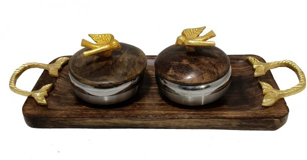 Safina Wooden Serving Tray and 2 Steel Serving Bowl with Wooden Lid | (Pack of 3) Bowl Serving Set