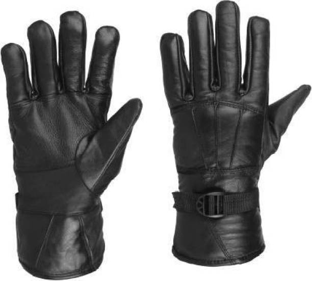 ochrestar Leather Full Finger Gloves Riding Gloves (Black) Cycling Gloves
