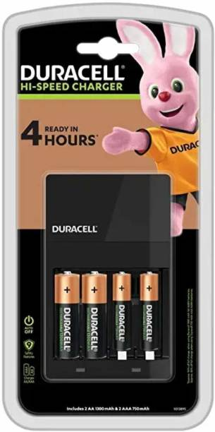 DURACELL Hi-speed Value charger - Includes 2 A A - 1300mAh & 2 A A A - 750mAh batteries (45 mins charge time = 4 hrs use time)  Camera Battery Charger
