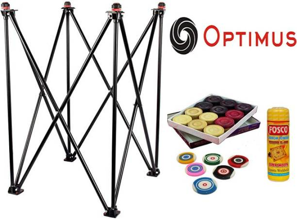 Optimus ® Carrom Board Stand(Adjustable)Coins Disco Powder 6 Striker For All Size Carrom Carrom Pawns