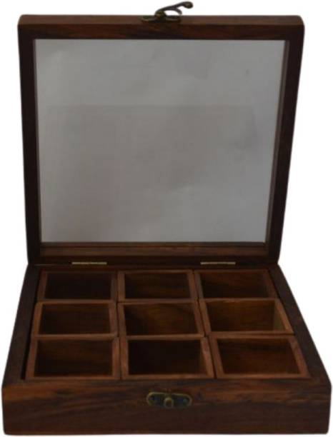 CRaFTghar Sheesham Wooden Table Top Masala Box Containers Jars & Wooden Masala Dabba for Kitchen Masala Dani Wooden Spice Storage Box Set for Kitchen , 9 Wooden Containers , Brown 1 Piece Spice Set