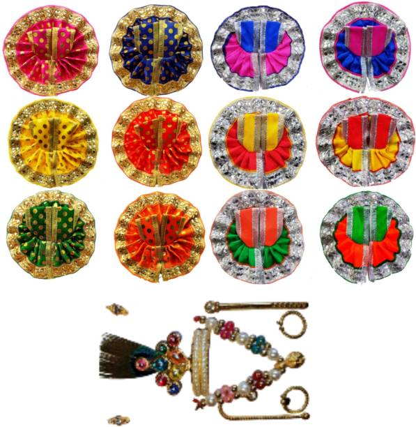 Swami Size 0 (4inch) pack of 12 with full set laddu gopal dress Dress