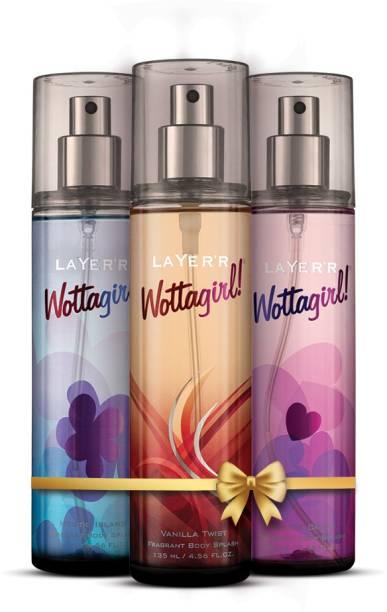 LAYER'R Wottagirl Body Splash Combo Vanilla Twist, Mystic Island, Secret Crush Deodorant Spray  -  For Women