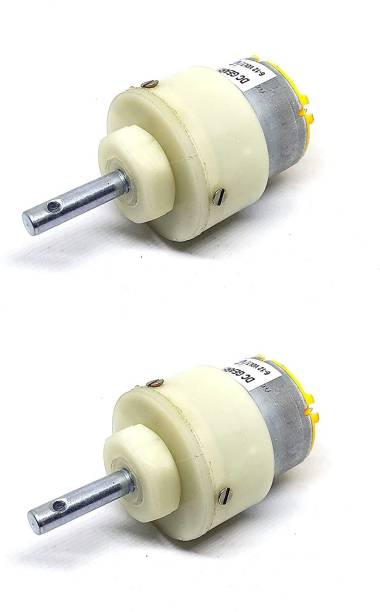 ELBOTICS 500 RPM 12v DC Center Shaft Gear Motor (White) Pack of 2 Electronic Components Electronic Hobby Kit