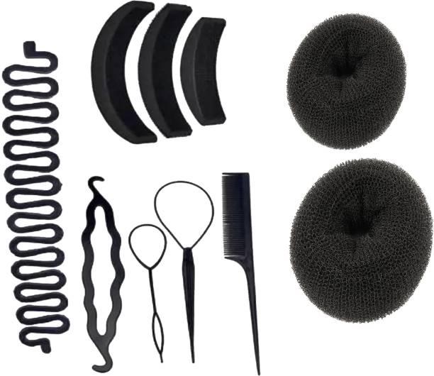 JAGTEK Hair Accessories Set Of 10 pcs 4 Pcs Braid Tool , 2 Pcs Hair Donut Bun Maker , 3 Pcs Hair Volumizer , 1 Pcs Braid Tools-(Combo Of 10) Hair Accessory Set