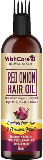 WishCare Red Onion Hair Oil - With Deep Root Hair Applicator- Controls HairFall & Promotes Growth - NO Mineral Oil, Silicones & Synthetic Fragrance