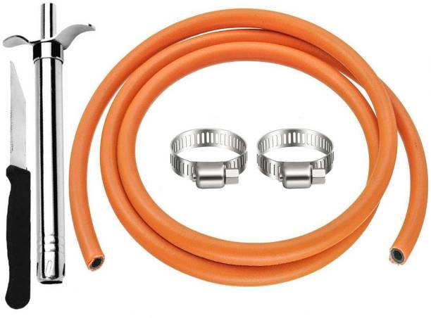 STILBON GAS PIPE Reinforced LPG Gas Pipe 1.5 m with Lighter,knife and 2 Clamps Hose Pipe