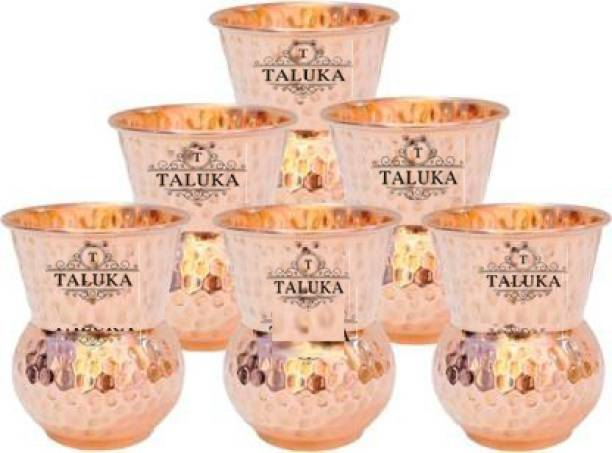TALUKA Copper Glass Damru Glass Tumbler Cup, Drinkware Health Benefits Ayurveda Yoga Pack Of 6 Glass Tray Set