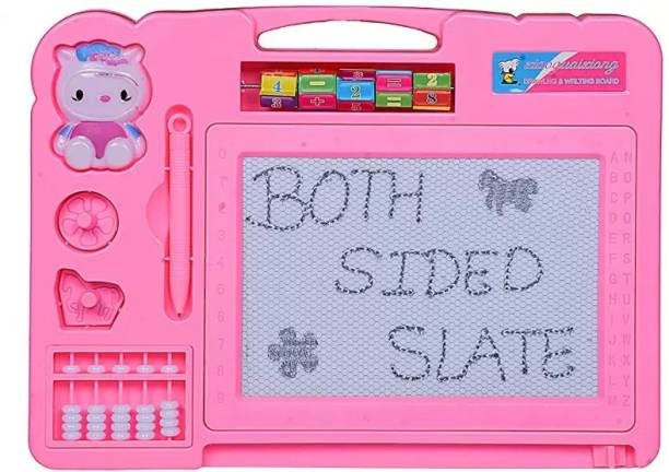 CRAZYGOL Drawing Magic Slate & Writing Board 2 In 1 for kids (Pink)