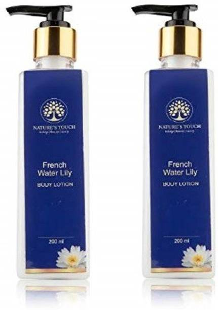Nature's Touch Organic Body lotion Lotion with Frenchh Water Lily Extracts for Extra Whitening Cell Repair (Homemade) Pack of 2, 400 ml | Body Lotion For Dark Spots, Blemishes & Even Tone