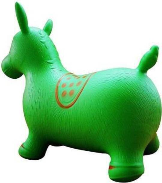 Tricolor Inflatable Jumping & Bouncer Riding Horse Animal Toy for kids Inflatable Hoppers & Bouncer (Green) Inflatable Hoppers & Bouncer