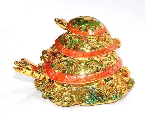 RUDRA DIVINE Vastu, Feng Shui, Three Generation Turtle, Tortoise (Golden) Good Luck & Brings Prosperity, Success and Financial Gains to The Turtle Decorative Showpiece  -  10 cm