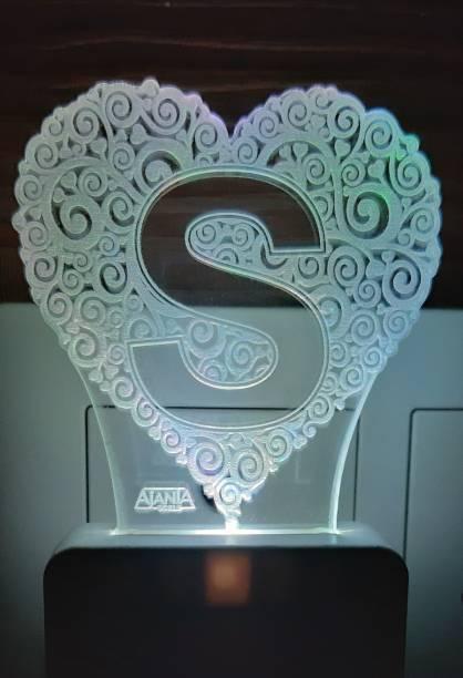 AJANTA MARKETING Heart Shape Alphabet S Night Lamp