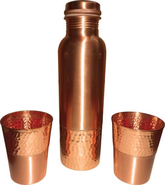 SKY TRENDS Copper Bottle with Glass set 1000 ml Bottle