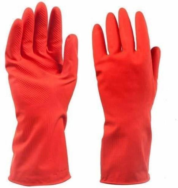 VAAMnational Rubber Hand Gloves Reusable Washing Cleaning Kitchen, Garden Glove, Gardening Glove, Garden Gloves, Gleaning Gloves RED GAR GL SET OF-01 Gardening Shoulder Glove