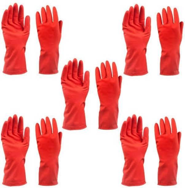 VAAMnational Rubber Hand Gloves Reusable Washing Cleaning Kitchen, Garden Glove, Gardening Glove, Garden Gloves, Gleaning Gloves GL SET OF-05 RED Gardening Shoulder Glove