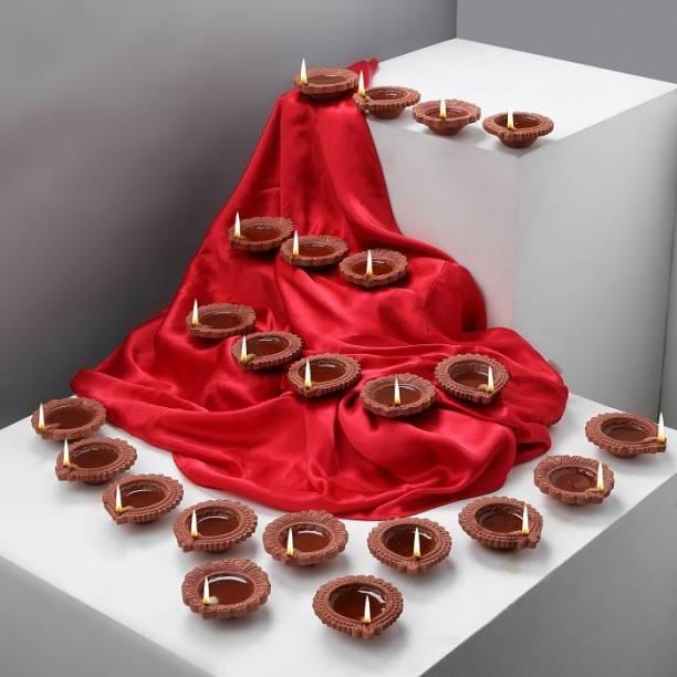 Anil Rakhi Pooja Oil Terracotta (Pack of 24) Table Diya Set