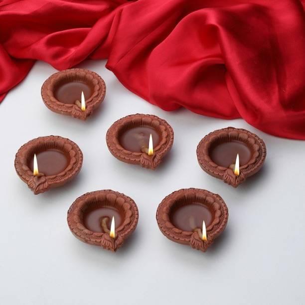 Anil Rakhi Cotton wicks Terracotta (Pack of 6) Table Diya Set