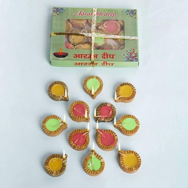 Anil Rakhi with Wax:Cotton wicks Terracotta (Pack of 24) Table Diya Set