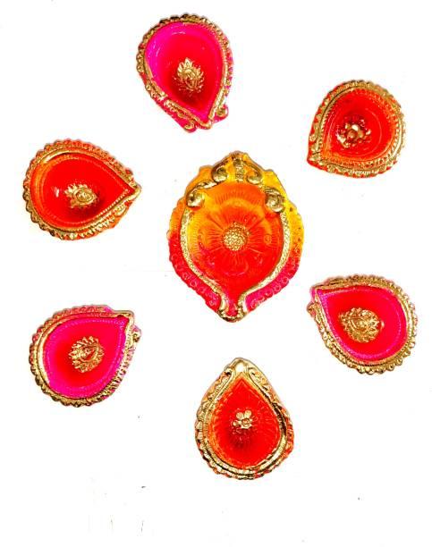 KHUSHA CREATIONS Decorative Diyas For Diwali pooja , Home Decoration , DIY (Set of 5 Diyas With cotton batti , Height 1.2 Inch) Earthenware (Pack of 7) Table Diya Set