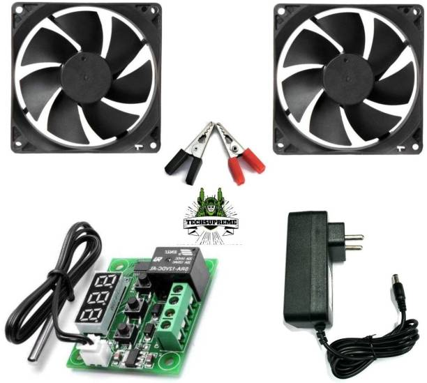 TechSupreme Combo Of W1209 + 12v 2Amp Adapter + CROCODILE CLIP + 2 Piece 3 inch fan For Diy Incubator Electronic Components W1209 thermostat Temperature Sensor and Controller Temperature Sensor and Controller Electronic Hobby Kit