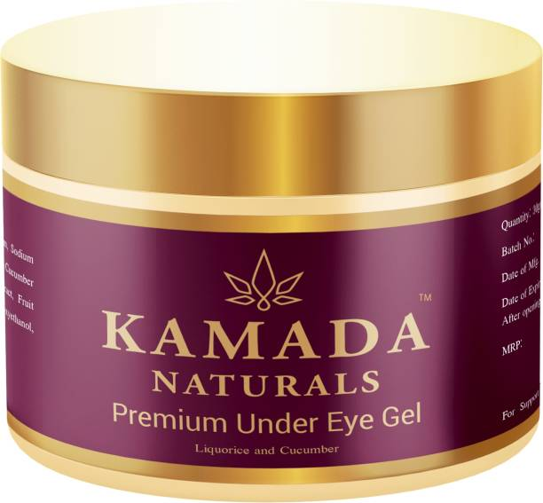 KAMADA NATURALS Under eye cream gel for dark circles, anti aging formula to reduce wrinkles, eye bags, puffiness with moisturizing cucumber for sensitive and all skin types for men and women, 30gm
