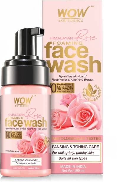 WOW SKIN SCIENCE Himalayan Rose Foaming  - contains Rose Water & Aloe Vera Extract - for Cleansing & Toning - No Parabens, Sulphate, Silicones & Synthetic Color - 100mL Face Wash