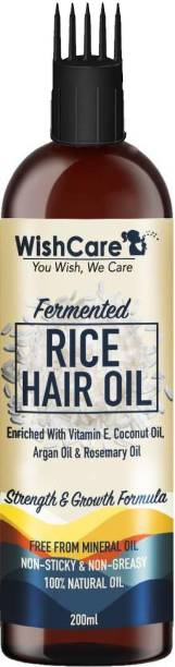 WishCare Fermented Rice Hair Oil - With Deep Root Hair Applicator- Increases Strength & Promotes Growth - NO Mineral Oil, Silicones & Synthetic Fragrance