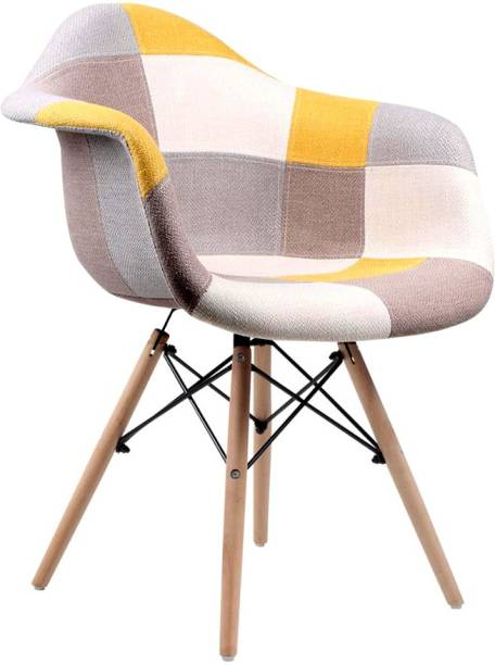 Urbancart Patchwork Chair with Upholstered Seat and Wooden Legs for Home, Office, Cafes, Restaurant, Waiting Area Fabric Living Room Chair