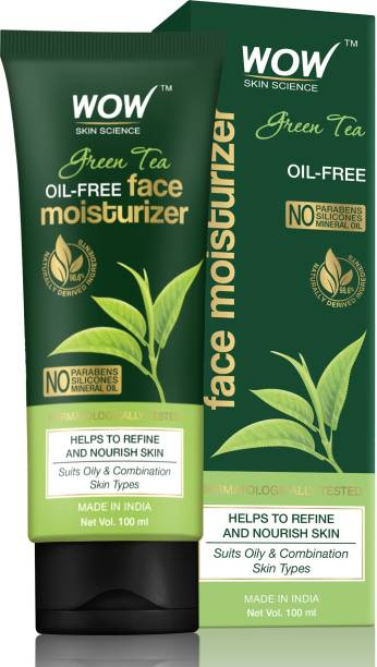 WOW SKIN SCIENCE Green Tea Face Moisturizer - OIL FREE - Quick Absorbing - Non Sticky - contains Green Tea Extract - for Refining & Nourishing Skin - No Parabens, Silicones & Mineral Oil - 100mL