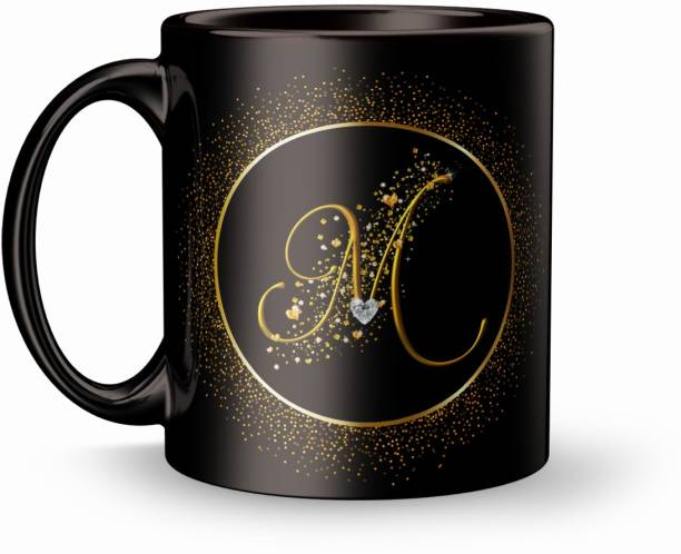 Fifth and Moon Birthday Gift Letter M for wife husband girlfriend boyfriend on Birthday love Valentines Day and Anniversary Ceramic Coffee Mug