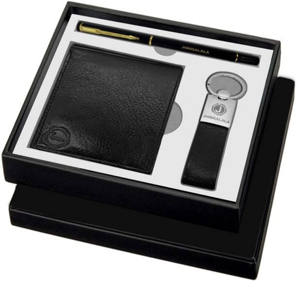 Jhingalala Stylish Pen, Keyring and leather men's wallet Pen Gift Set