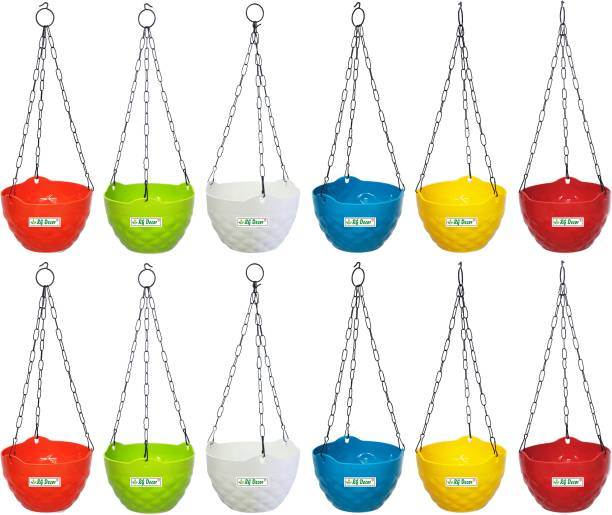 RGDECOR Decorative and Durable Diamond Hanging Pot - Multicolour - Diameter 7.5 inch, Height 5 inch. Plant Container Set