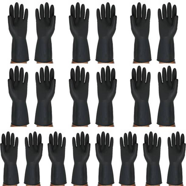 Safies Black Rubber Safety Hand Gloves For Men & Women For Outdoor Protection Pack of 10 Pairs. Rubber  Safety Gloves