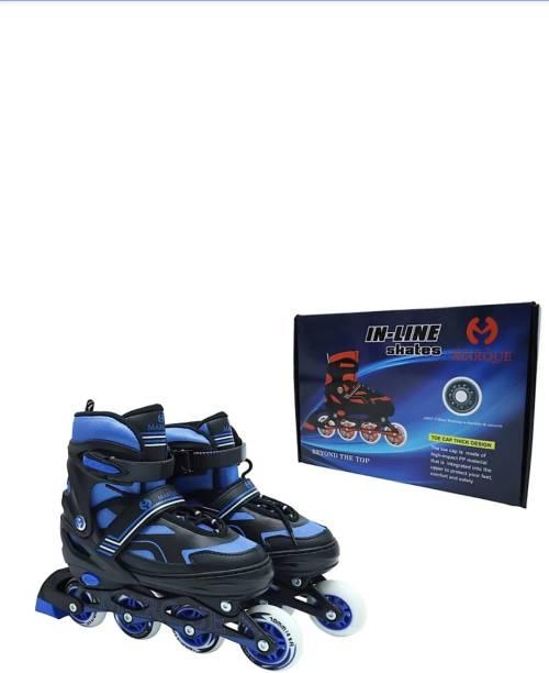 SQUADD Inline Skates Indoor And Outdoor Adjustable Size Rpller Shoes In-line Skates - Size 7-9 UK