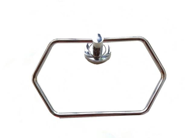 VIMART VIMART Wall Mounted Stainless Steel Towel Ring with Chrome Finish Hexagonal Shape Napkin / Towel Hanger Ring for Kitchen, Wash Area, Bathroom (Medium, Silver) (SET OF 1 PIC) 6 inch 1 Bar Towel Rod