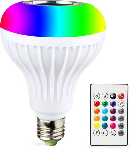CartBug Led Bulb with Bluetooth Speaker Music Light Bulb B22 LED White + RGB Light Ball Bulb Colorful Lamp with Remote Control for Home, Bedroom, Living Room, Party Decoration Smart Bulb