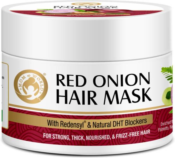 Mom & World Red Onion Hair Mask - With Redenysl And Natural DHT Blockers, For Strong, Thick, Nourished And Frizz Free Hair -