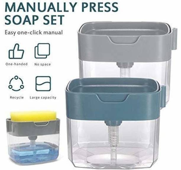 BENDIGO Soap Pump Dispenser 2 in 1 Soap Dispenser for Dishwasher Liquid Holder Kitchen Sink Dish Washing Soap Dispenser; Color : Multi-Color 385 ml Gel, Liquid, Soap, Shampoo, Sanitizer Stand Dispenser