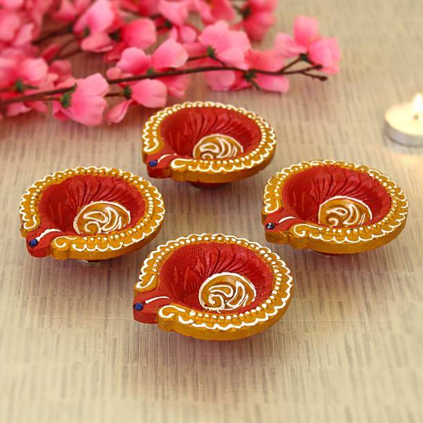 TIED RIBBONS Handpainted and Handmade Decorative Terracotta Diyas for Diwali Terracotta (Pack of 4) Table Diya Set