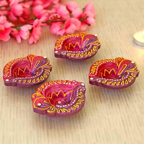 TIED RIBBONS Handmade and Handpainted Decorative Terracotta Diyas for Diwali Terracotta (Pack of 4) Table Diya Set